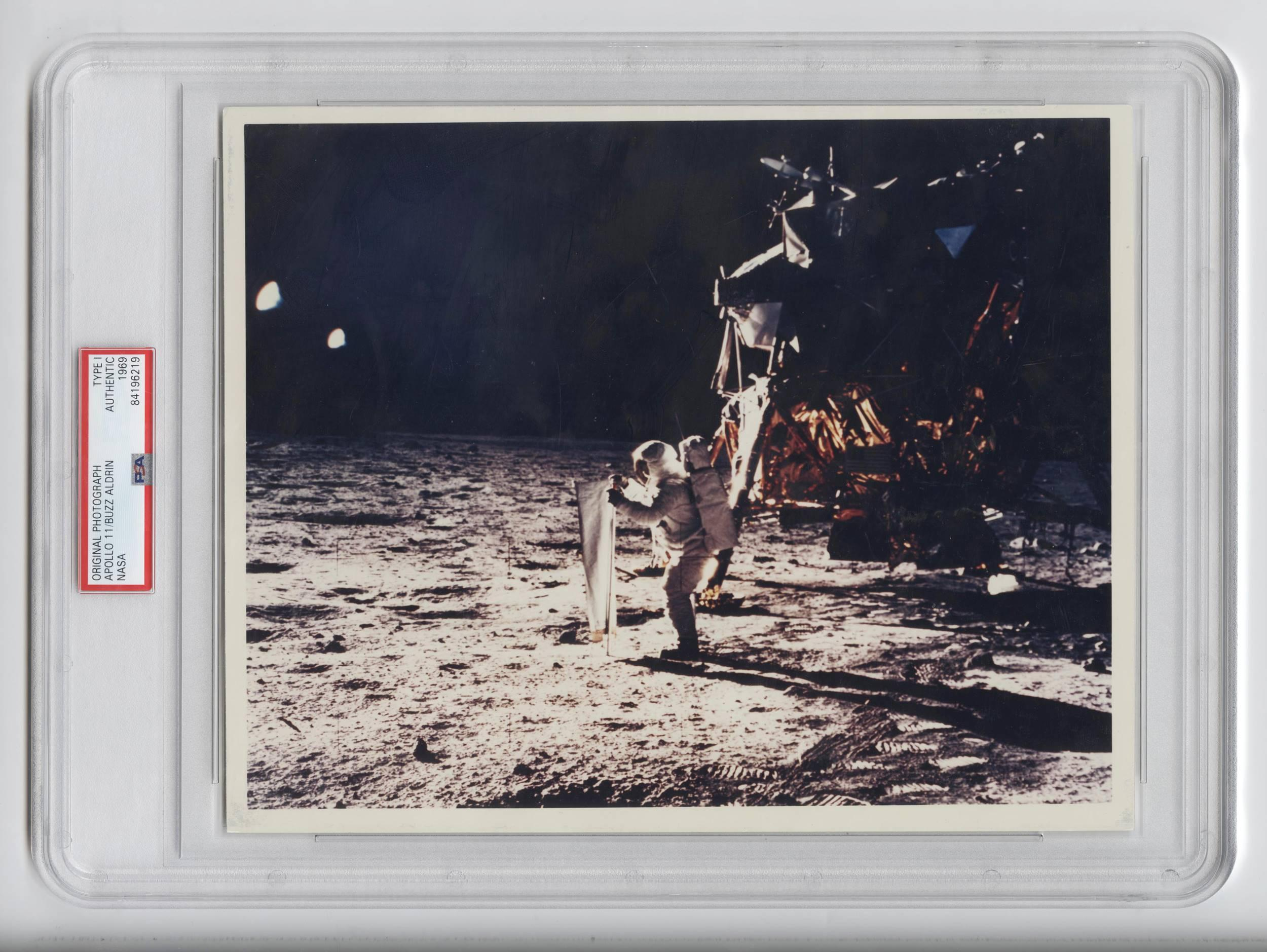 Official NASA Red Number Photo of Buzz Aldrin During the Apollo 11 Mission, PSA Slabbed Authentic Type I