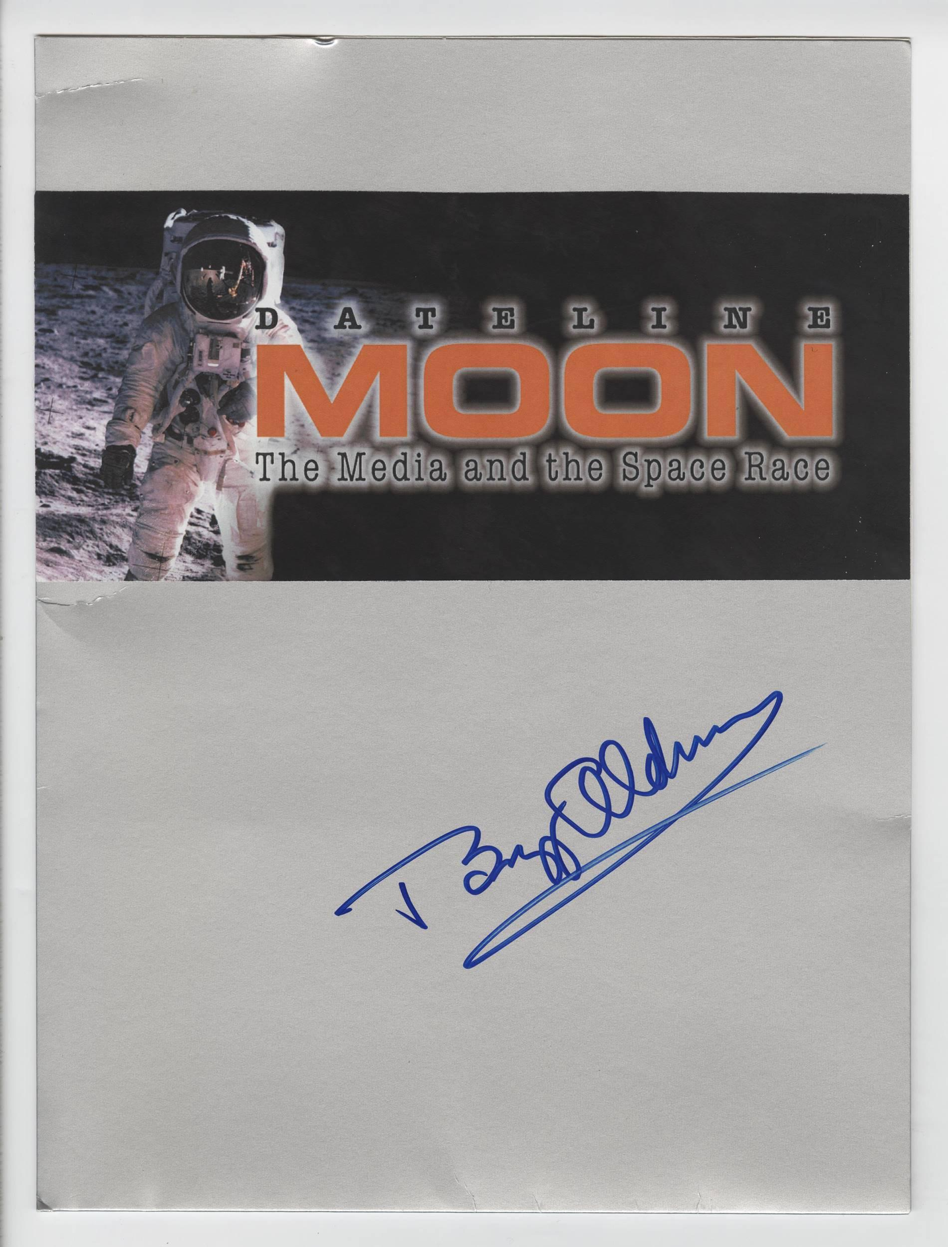 """Buzz Aldrin Signed """"Moon Folder"""" with Iconic Man In The Moon Image"""