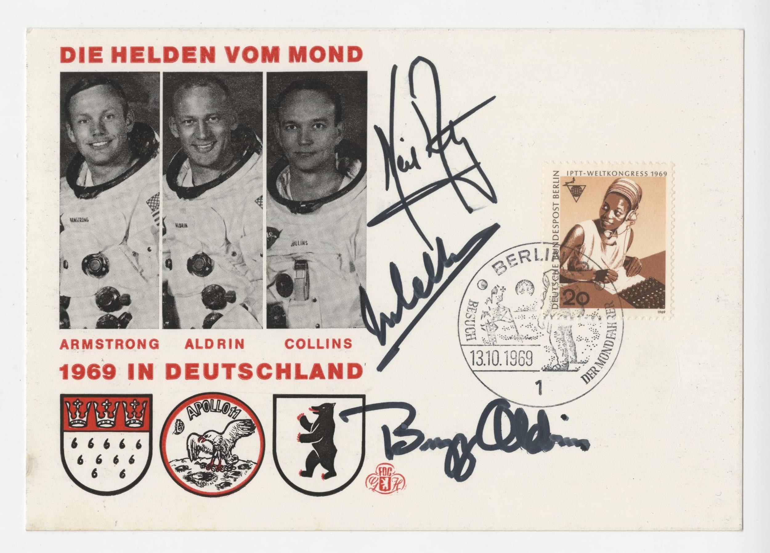 Apollo 11 Crew Signed German Cover, Armstrong, Aldrin and Collins