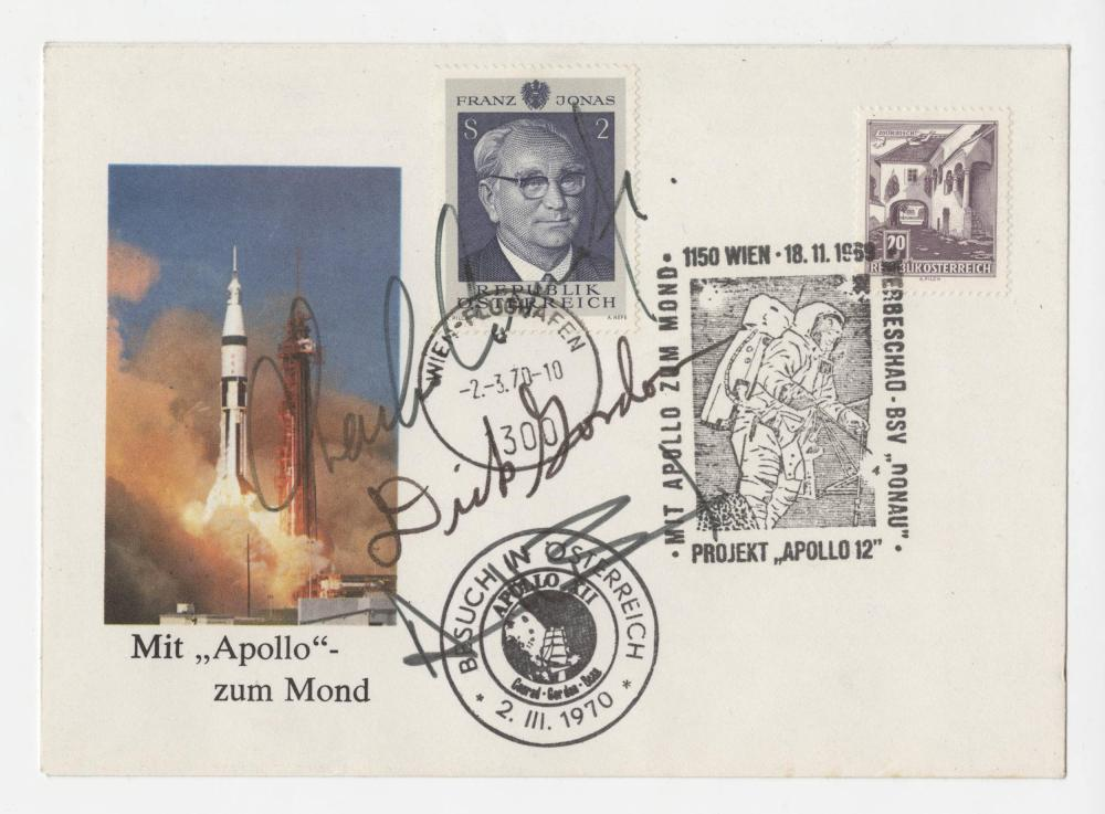 Apollo 12 Crew Signed Austrian Cover, Conrad, Gordon and Bean