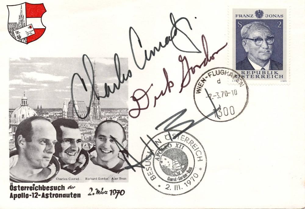 Apollo 12 Crew Signed FDC, Conrad, Gordon, and Bean