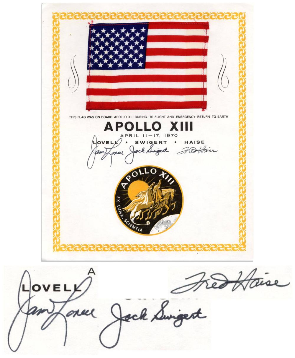 Apollo 13 United States Flag Space-Flown, Crew-Signed, from the Jack Swigert Estate
