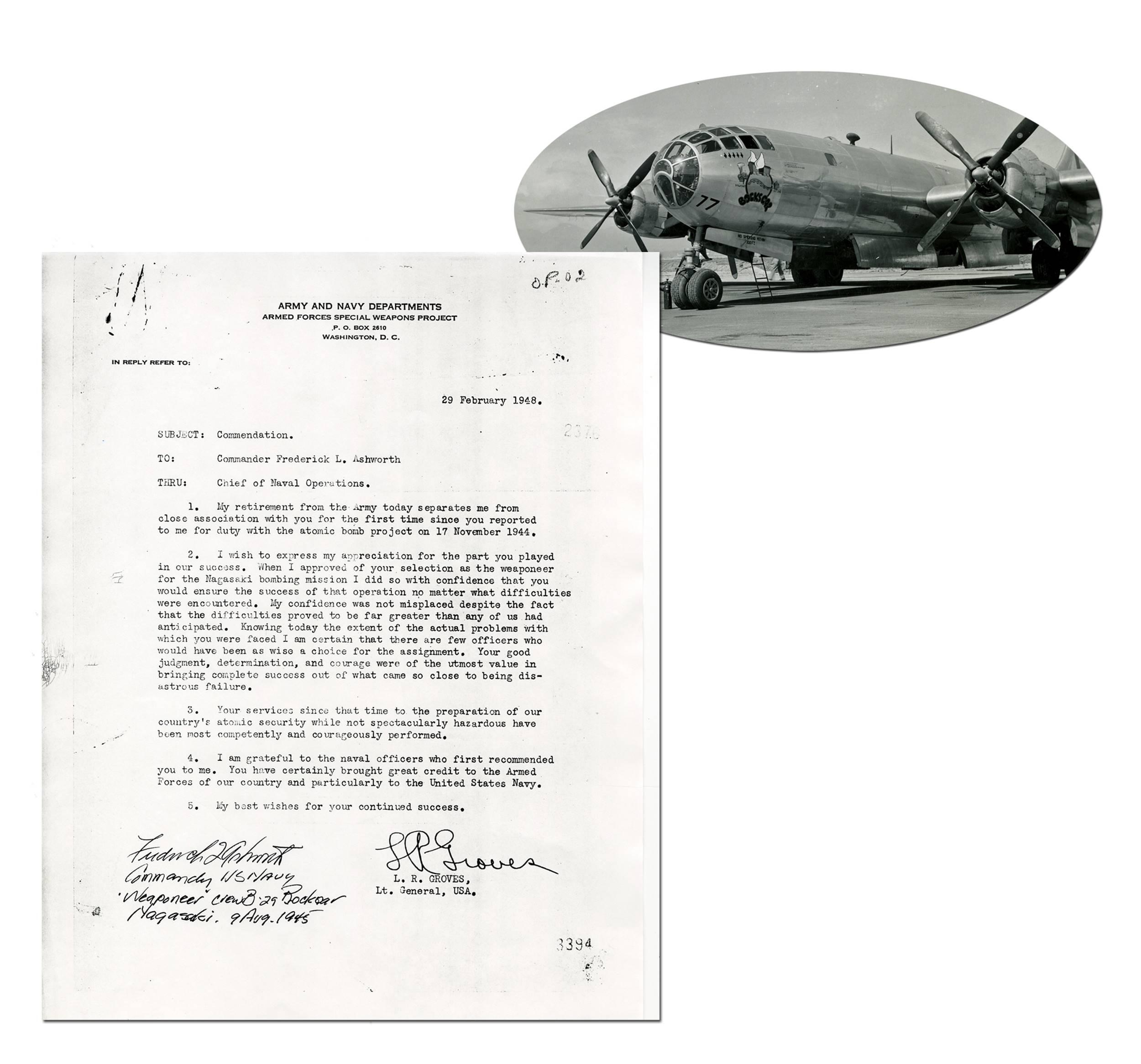 Bockscar Weaponeer Ashworth Autographs Groves Memo