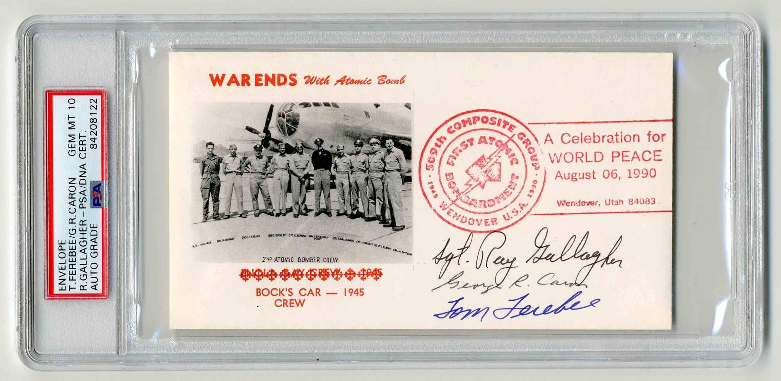 "Hiroshima & Nagasaki Atomic Bomb 45th Anniversary Postal Cover Signed by 3 ""Enola Gay"" & ""Bockscar"" Crew Members, PSA/DNA Slabbed & Graded Gem Mint 10!"