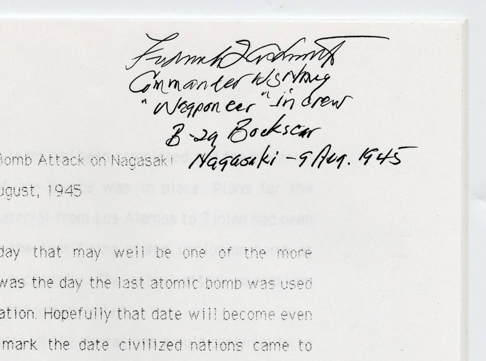 Ashworth's Signed Reminiscence of Dropping the Atomic Bomb on Nagasaki by Mission Commander and Weaponeer