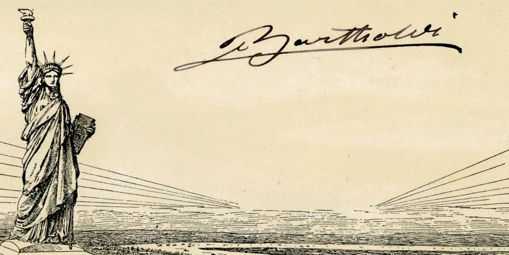 Bartholdi Signature on Rare Statue of Liberty Souvenir Card