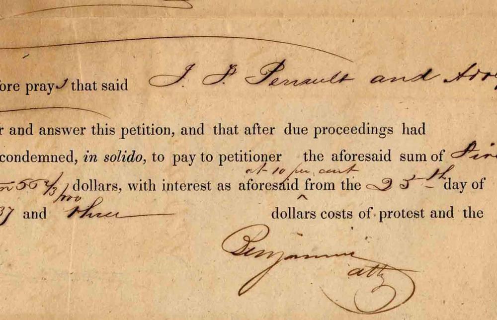Judah P. Benjamin Legal Brief from Antebellum New Orleans