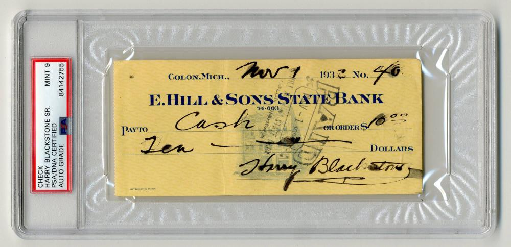 "Harry Blackstone, ""The World's Greatest Magician,"" Signed Check, PSA/DNA Slabbed & Graded Mint 9"