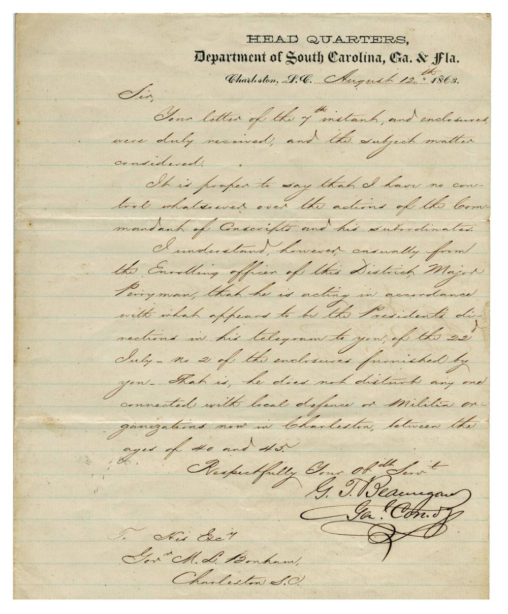 P.G.T. Beauregard Superb War Date Letter