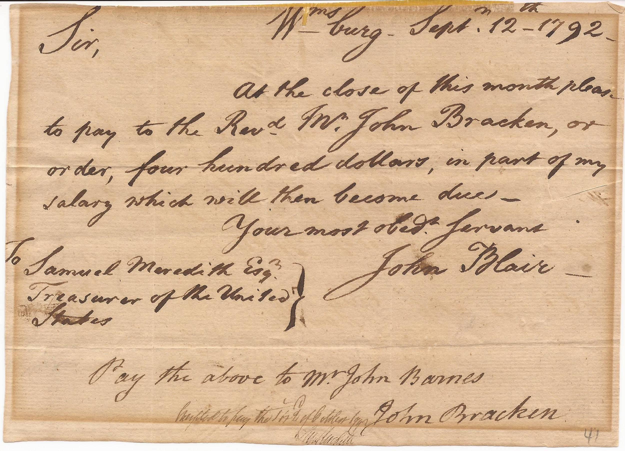 U.S. Supreme Court Justice John Blair asks Treasurer Samuel Meredith to Pay Part of His Salary to a Williamsburg Minister and Educator