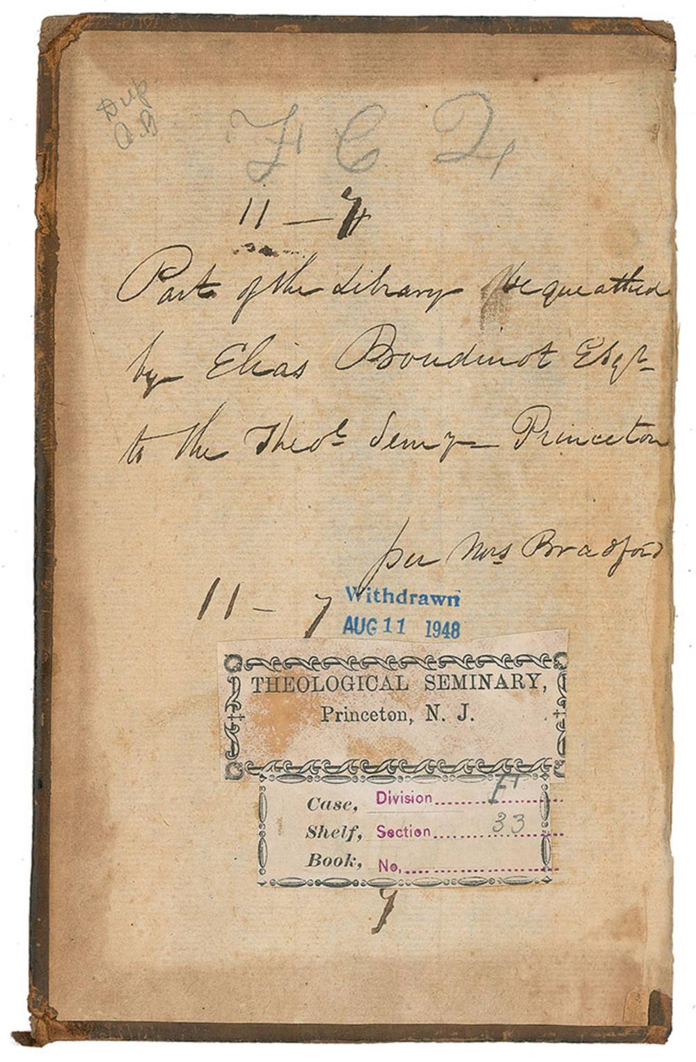 Elias Boudinot Signed Book