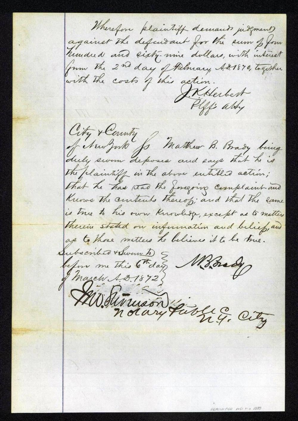 """Mathew Brady Sues the Notorious Jay Gould for his Failure to Pay for """"Certain Pictures of Defendant"""""""