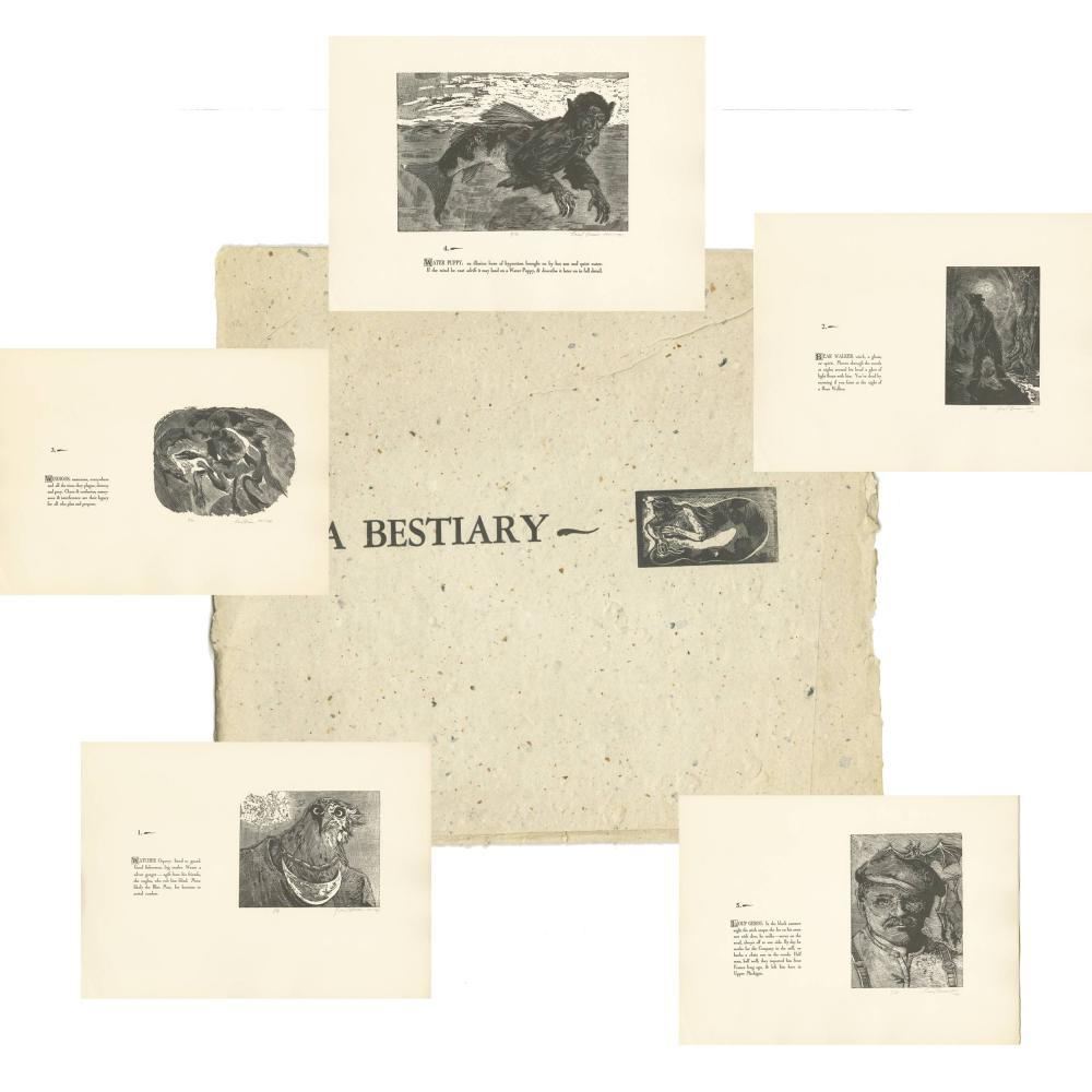 A Handcrafted Copper and Wood Engraved Signed Set of Fantasy Drawings: A Bestiary of the Upper Peninsula of Michigan