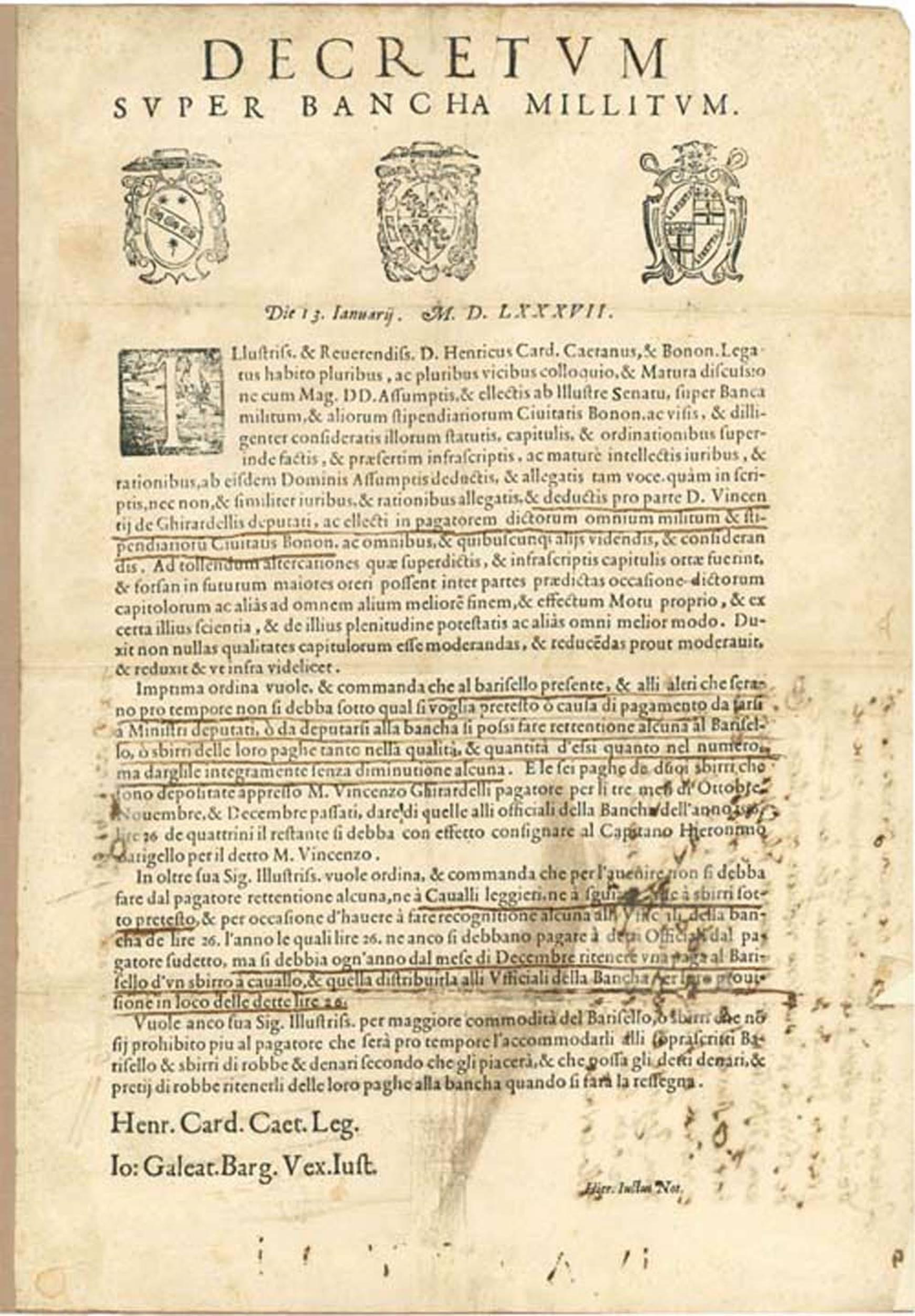 Decorative 16th Century Printed Military Decree
