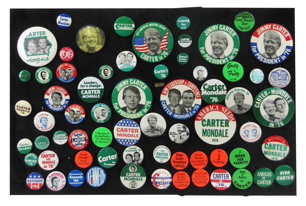 Jimmy Carter Campaign Pinbacks & Memorabilia, 65+ Pcs