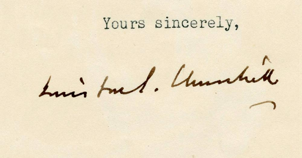 Winston Churchill TLS Thanking Artist who had Immortalized Him in Several Wartime Portraits