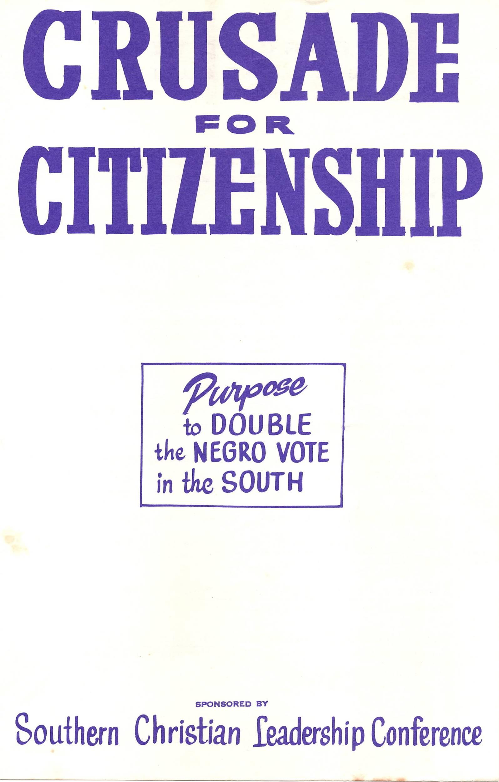 """S.C.L.C. """"Crusade for Citizenship"""" Negro Vote in the South Pamphlet"""