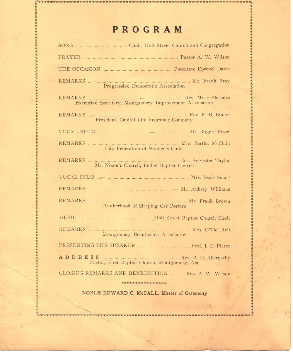Early Civil Rights Program Honoring Edgar D. Nixon, 1957