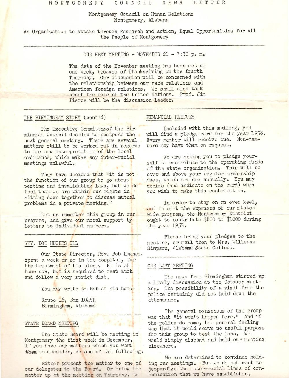 Civil Rights Montgomery Council 1960 Newsletters