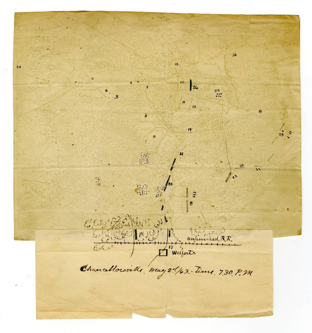 Battle of Chancellorsville Map Showing Battlefield Situation at 7:30 p.m. on May 2, 1863, after Stonewall Jackson's Bold Flank Assault