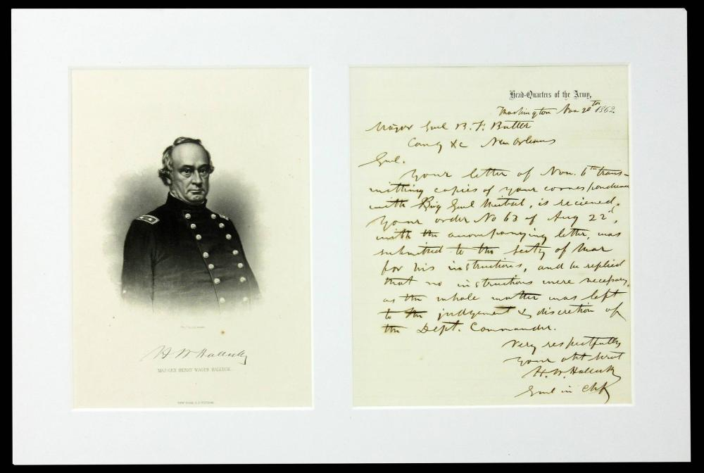 Henry Halleck ALS to Benjamin Butler in New Orleans Re: General Order No. 63, Concerning Blacks Joining Union Army