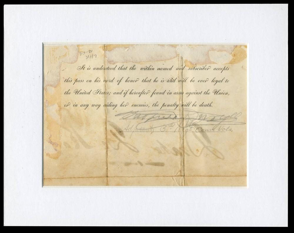 Civil War Union Pass Dating Just after 1st Battle of Bull Run