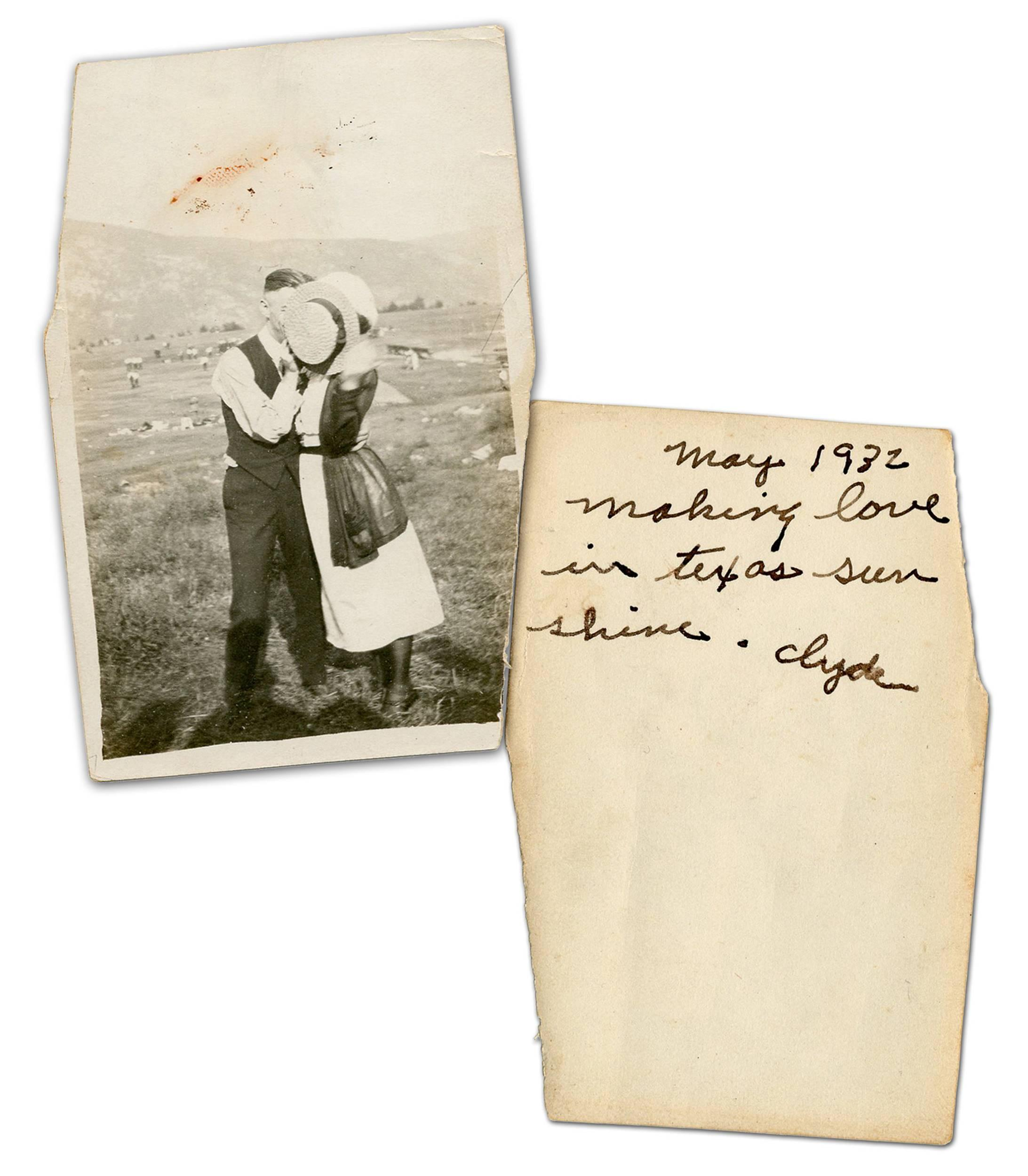 "Clyde Barrow Signed & Annotated Original Photograph of the Outlaws, Possibly Blood-Stained & Recovered from the Trunk of the ""Death Car"" -- Exceedingly Rare! Ex. Charles Hamilton"