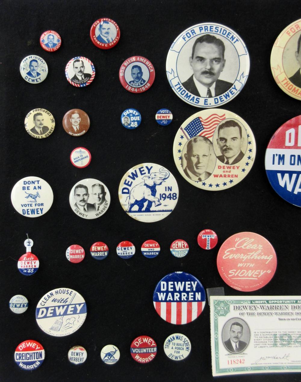 Thomas E. Dewey Campaign Pinbacks & Memorabilia, 60 Pcs