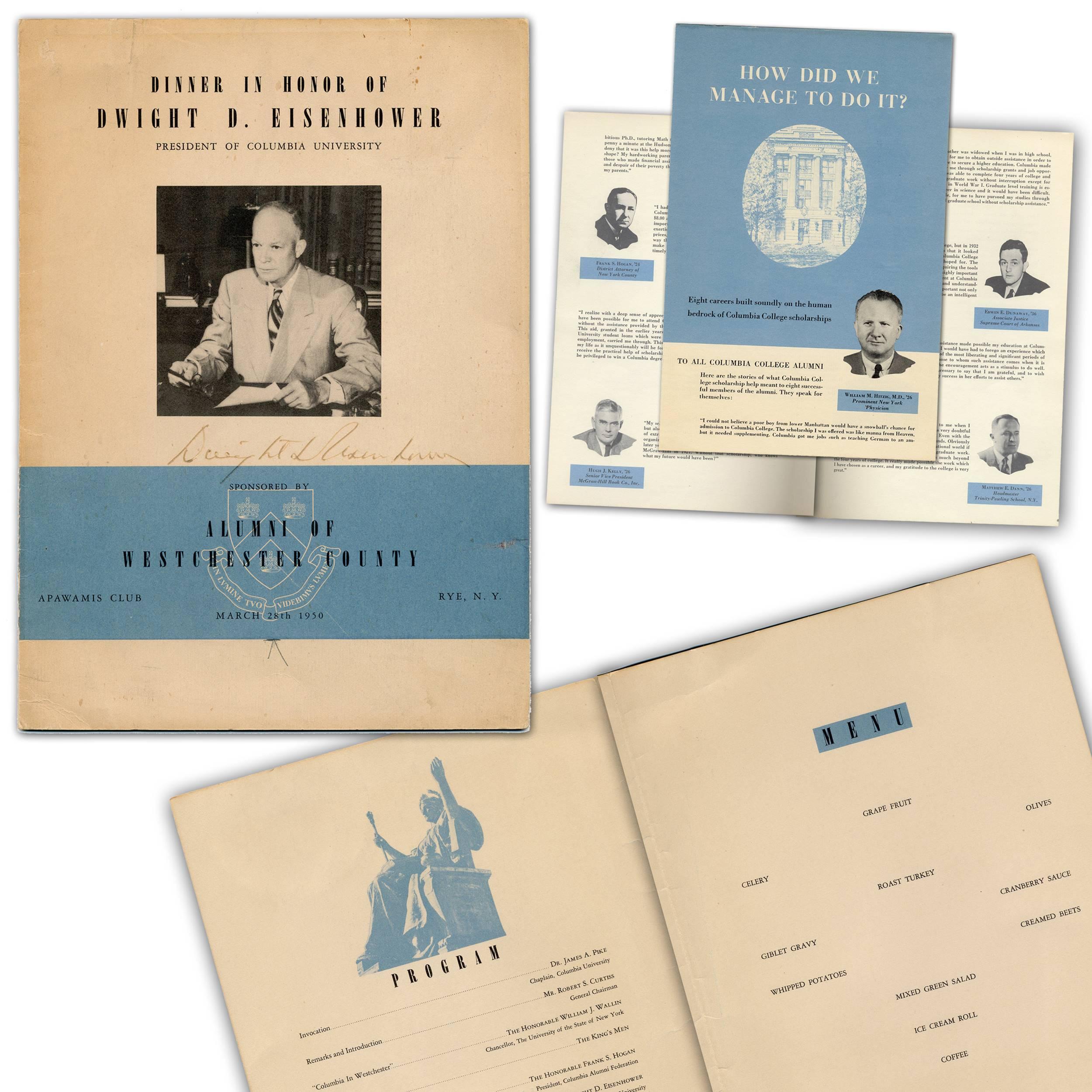 Dwight D. Eisenhower, Columbia University President, Signed Program from Westchester County Alumni Dinner