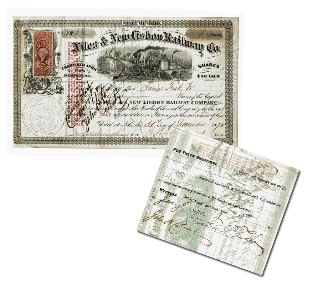 James Fisk Jr. Extremely Rare Signed Stock Certificate