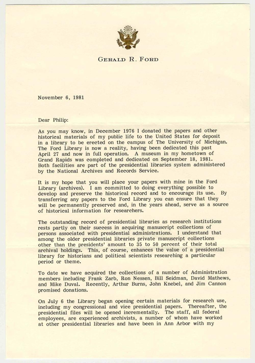 Gerald Ford TLS Re: Gerald R. Ford Presidential Library, Recently Opened