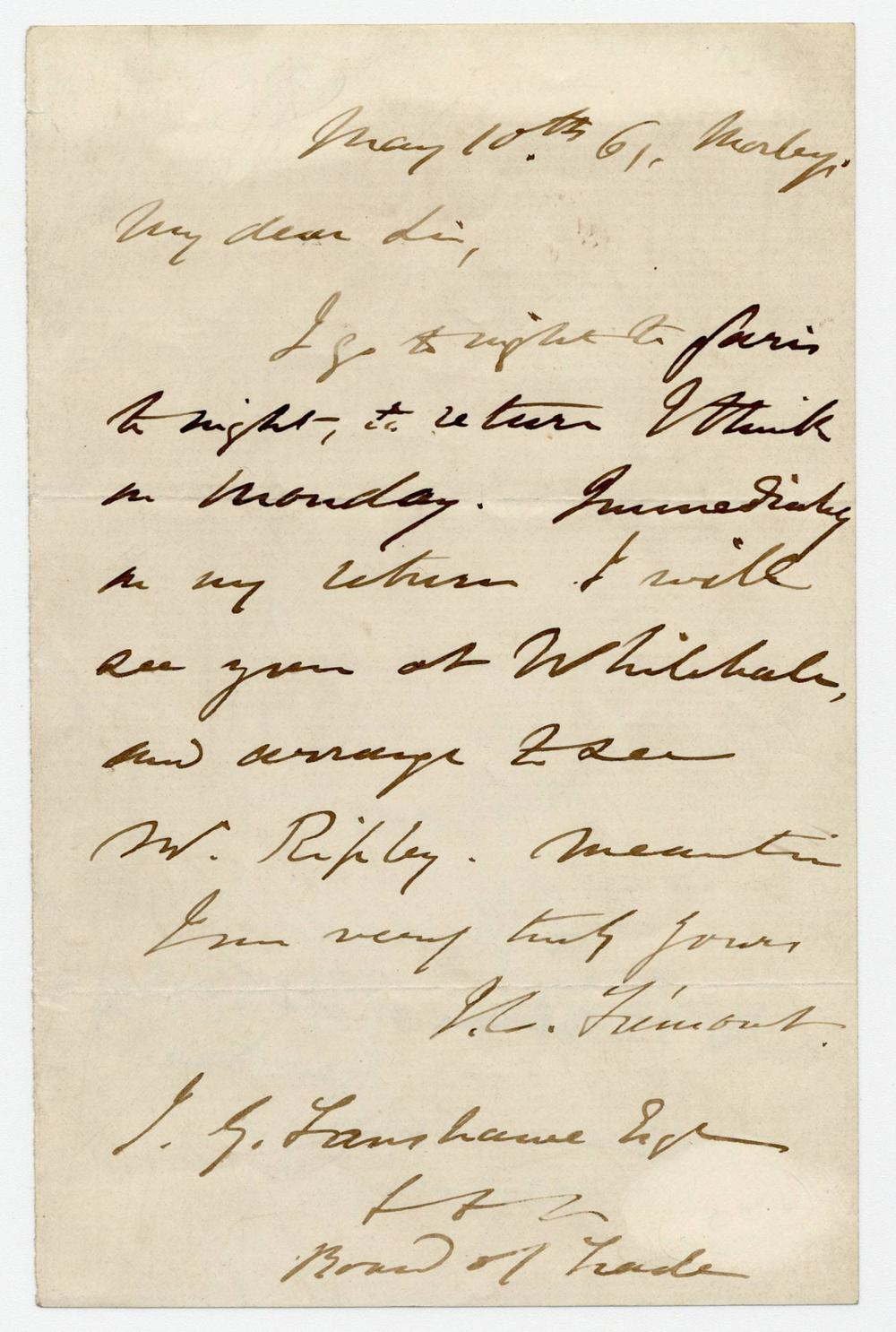 John C. Fremont Small Archive Including War-Dated ALS 5 Days before Lincoln Appointed him Major General