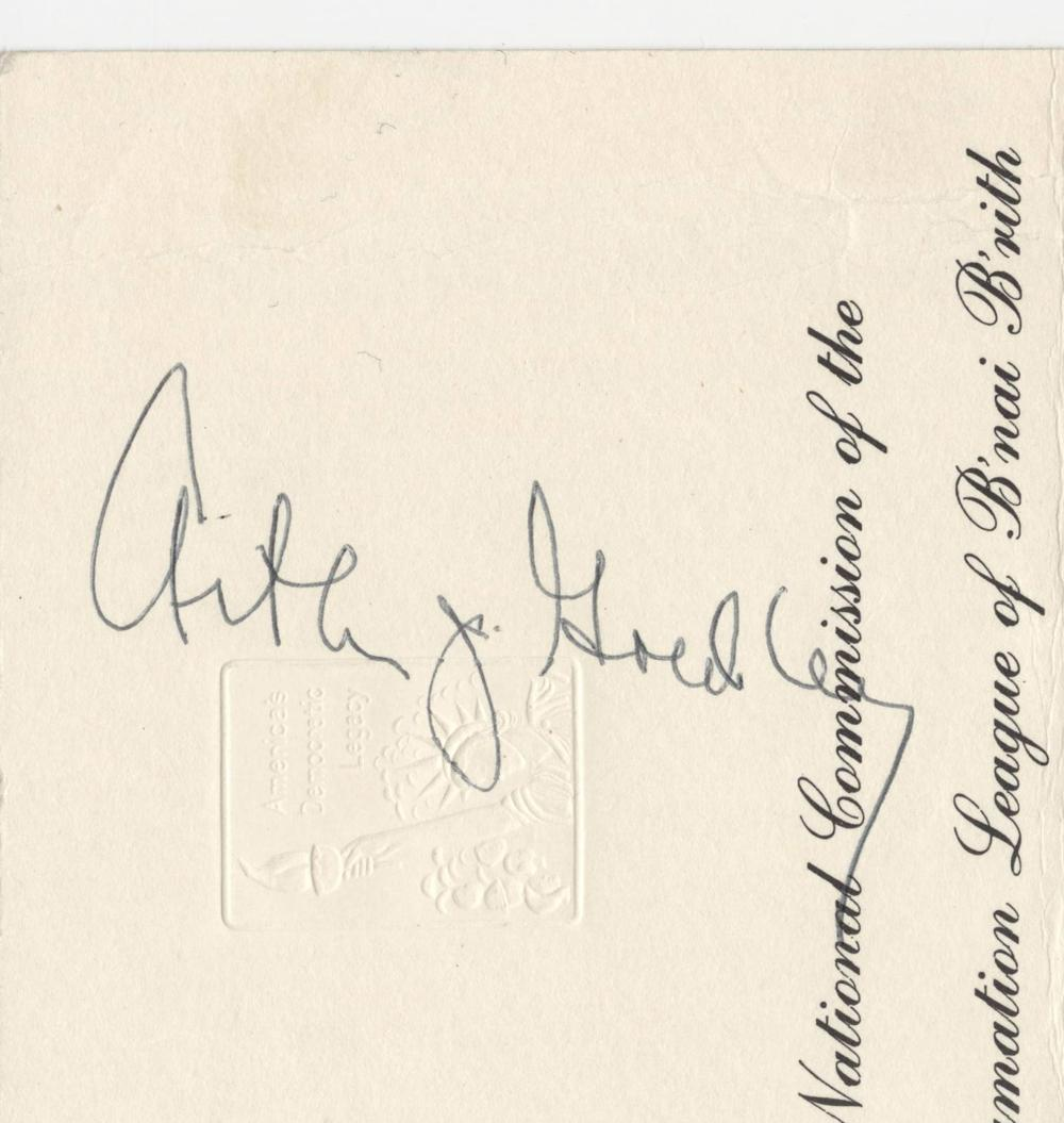 Arthur Goldberg Signed Honorary Dinner Invite Hosted by The National Commission of the Anti-Defamation League