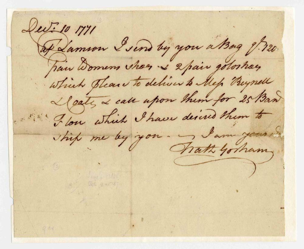 Nathaniel Gorham, Constitution Signer, ALS Regarding Women's Shoes!