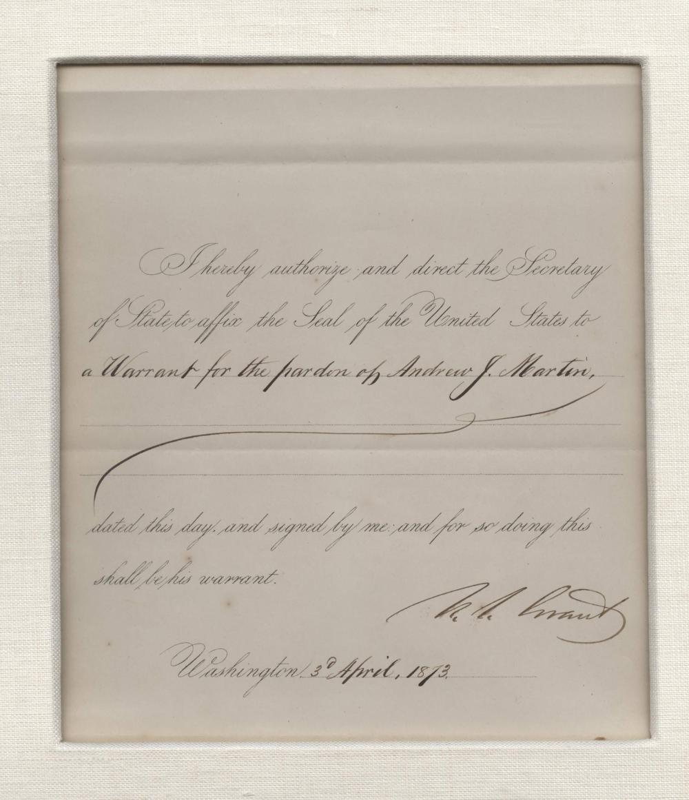 Ulysses S. Grant Superb Signed Pardon