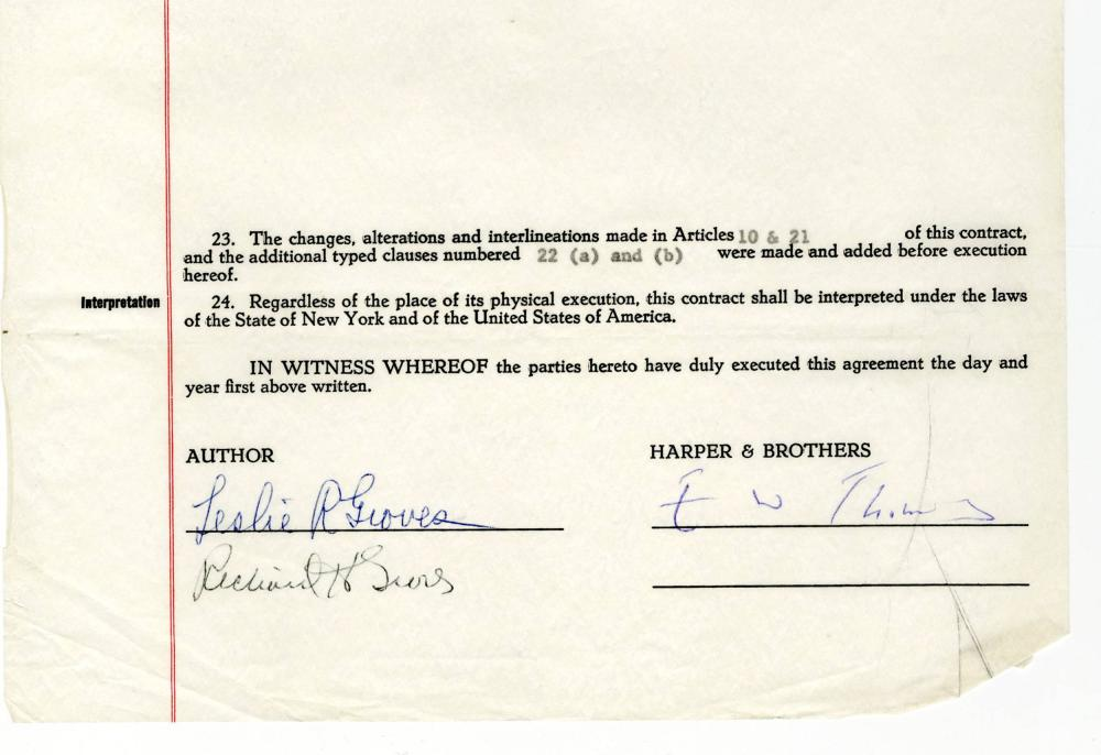 """Leslie Groves Signed Contract for """"The Manhattan Project"""""""