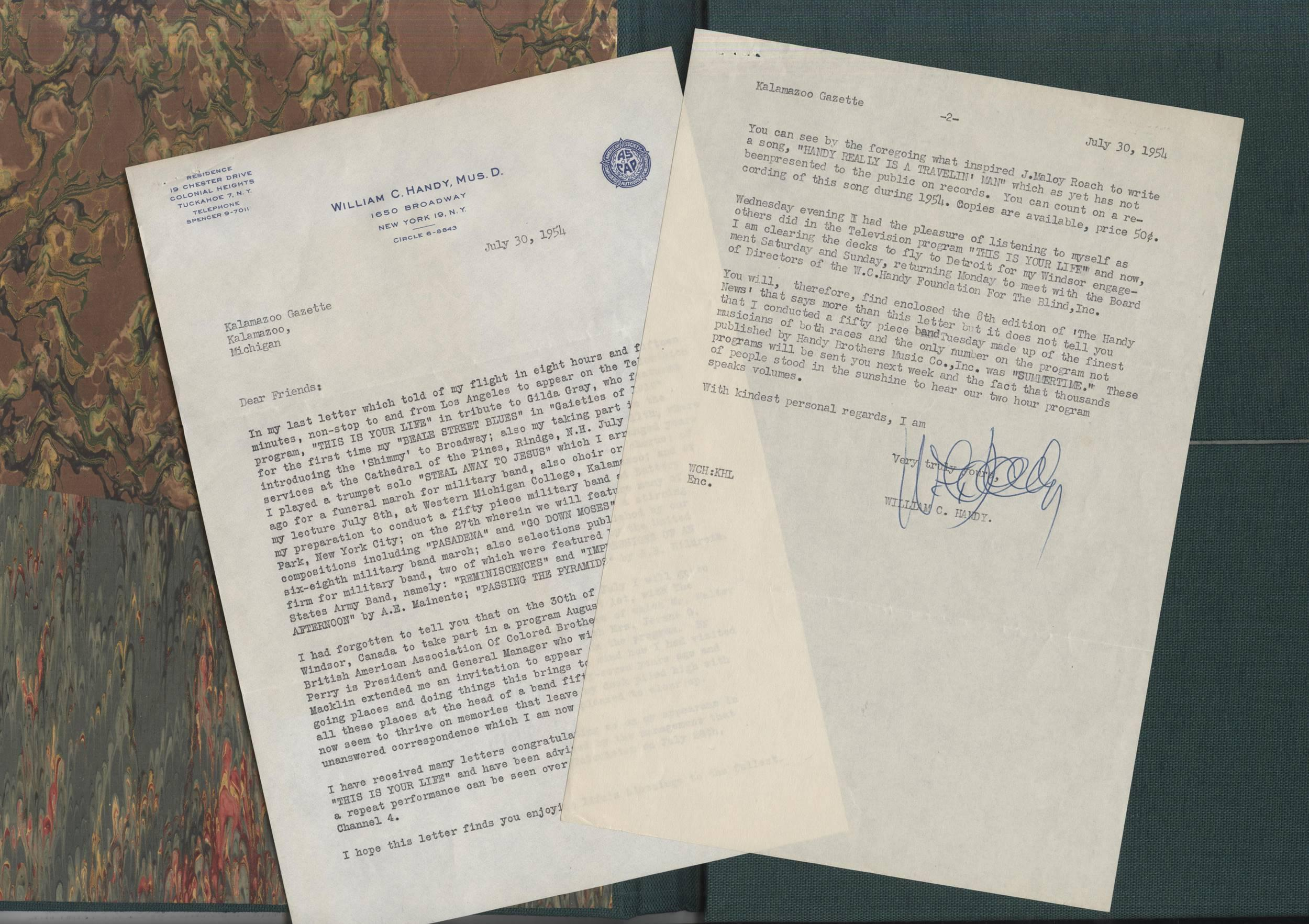 Important William Handy Letter, Boldly Signed
