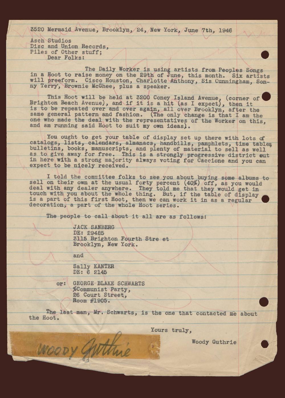 Woody Guthrie TLS to Asch Studios Regarding the Hoot Folk Festival