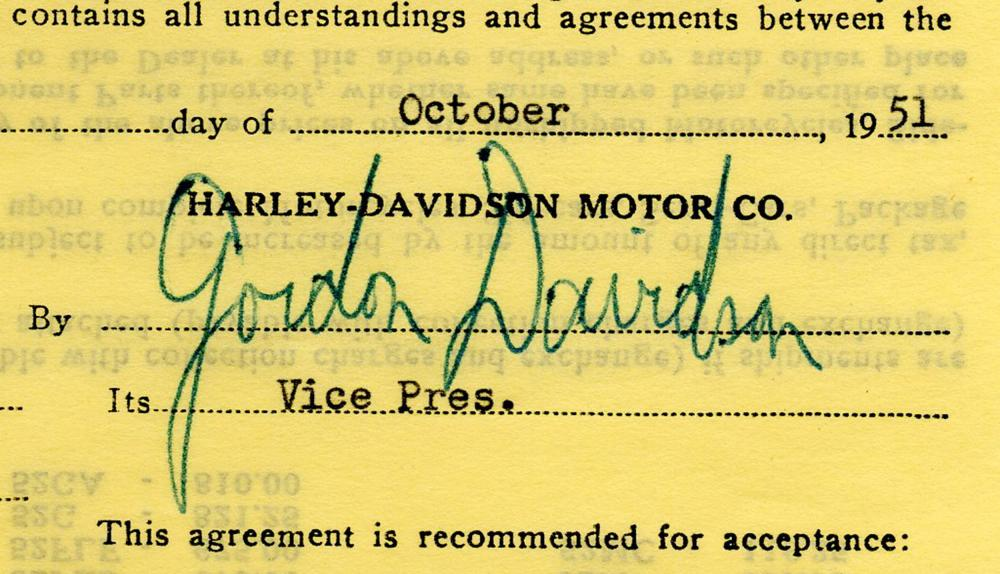 Harley Davidson Motorcycle Contract Signed by Gordon Davidson, Vice President of Harley-Davidson Motor Co. Perfect for the Free Road Lover