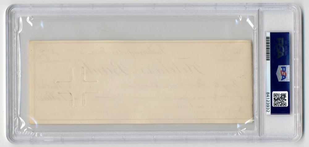 Benjamin Harrison Signed Check, PSA/DNA Slabbed & Graded Gem Mint 10!