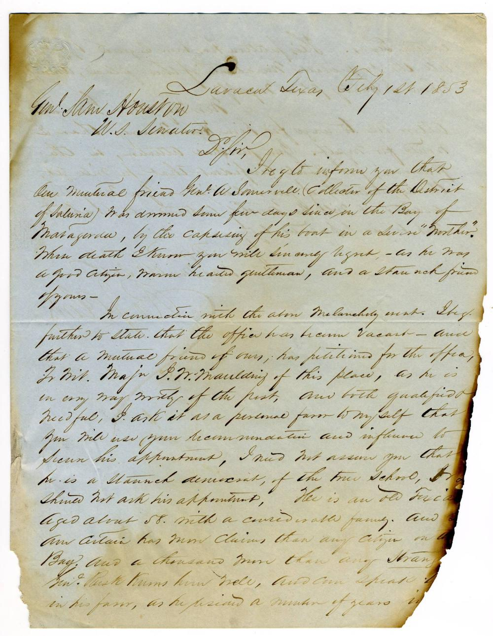 Robert J. Clow Appeals to Sam Houston of Texas in 1853