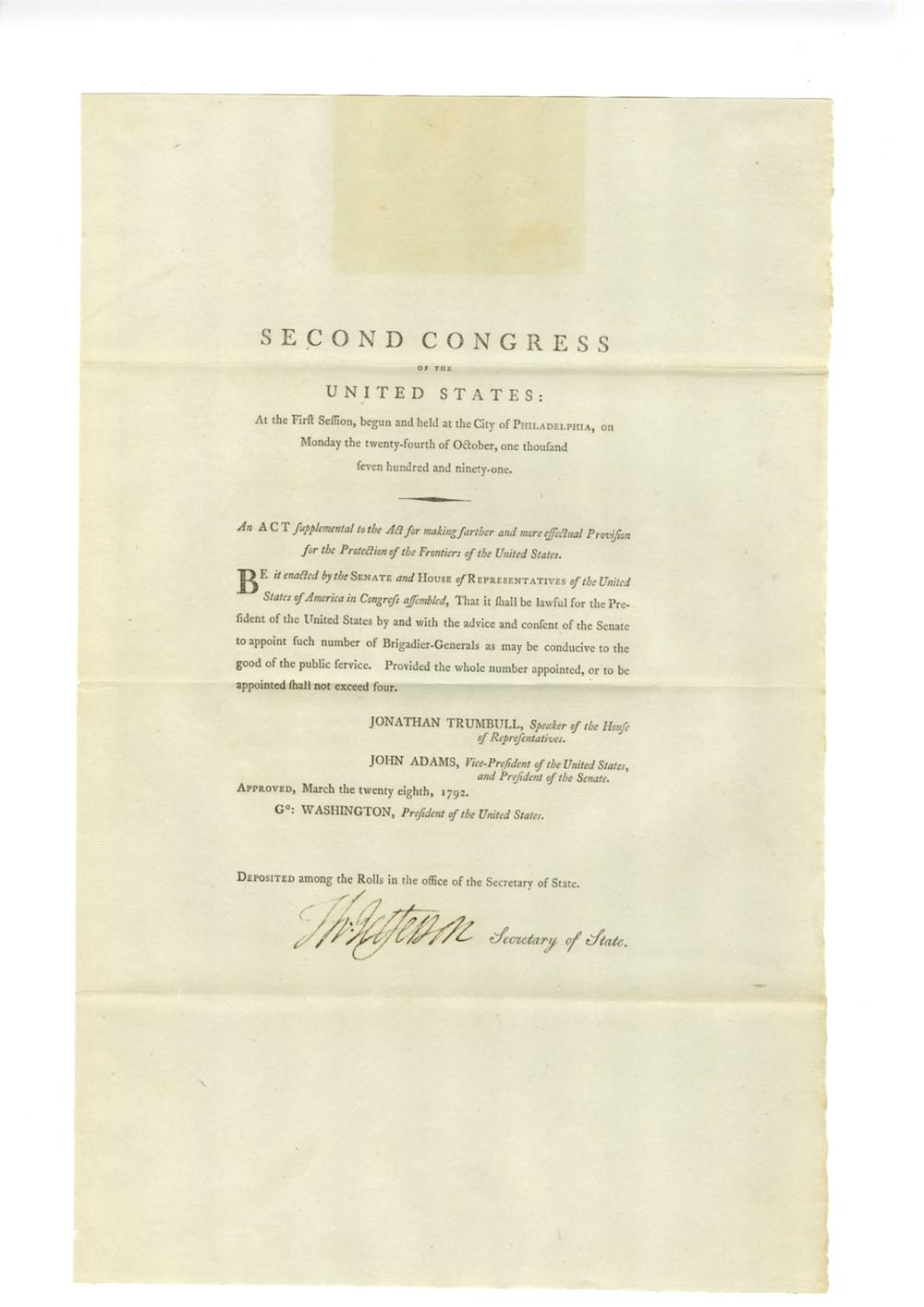 Significant Thomas Jefferson Document Signed, as Secretary of State, on printed Act of Second Congress, First Session