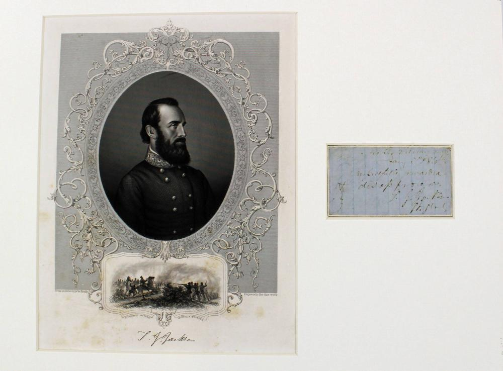 Fabulous War Dated Stonewall Jackson Endorsement, All in His Hand