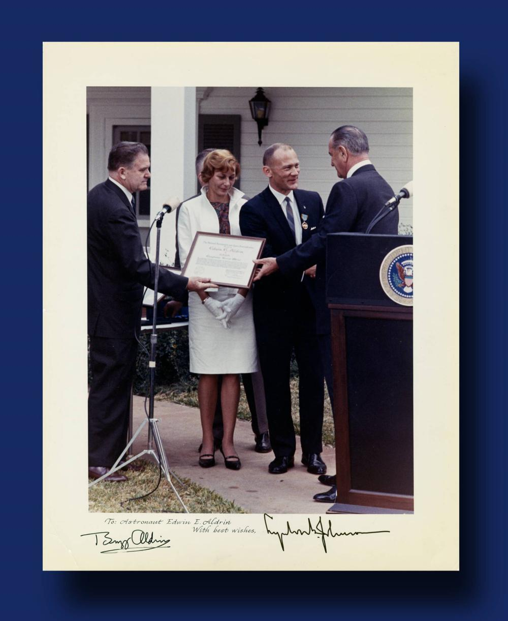 Outstanding Over-sized Lyndon B. Johnson and Buzz Aldrin Dual Signed Photo