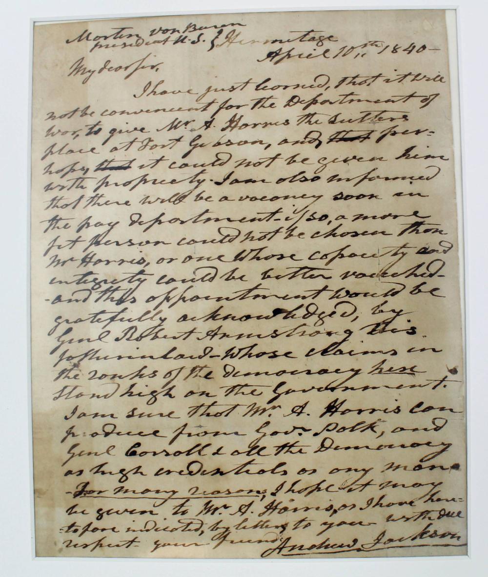 Andrew Jackson Rare ALS to Martin Van Buren Mentioning Polk