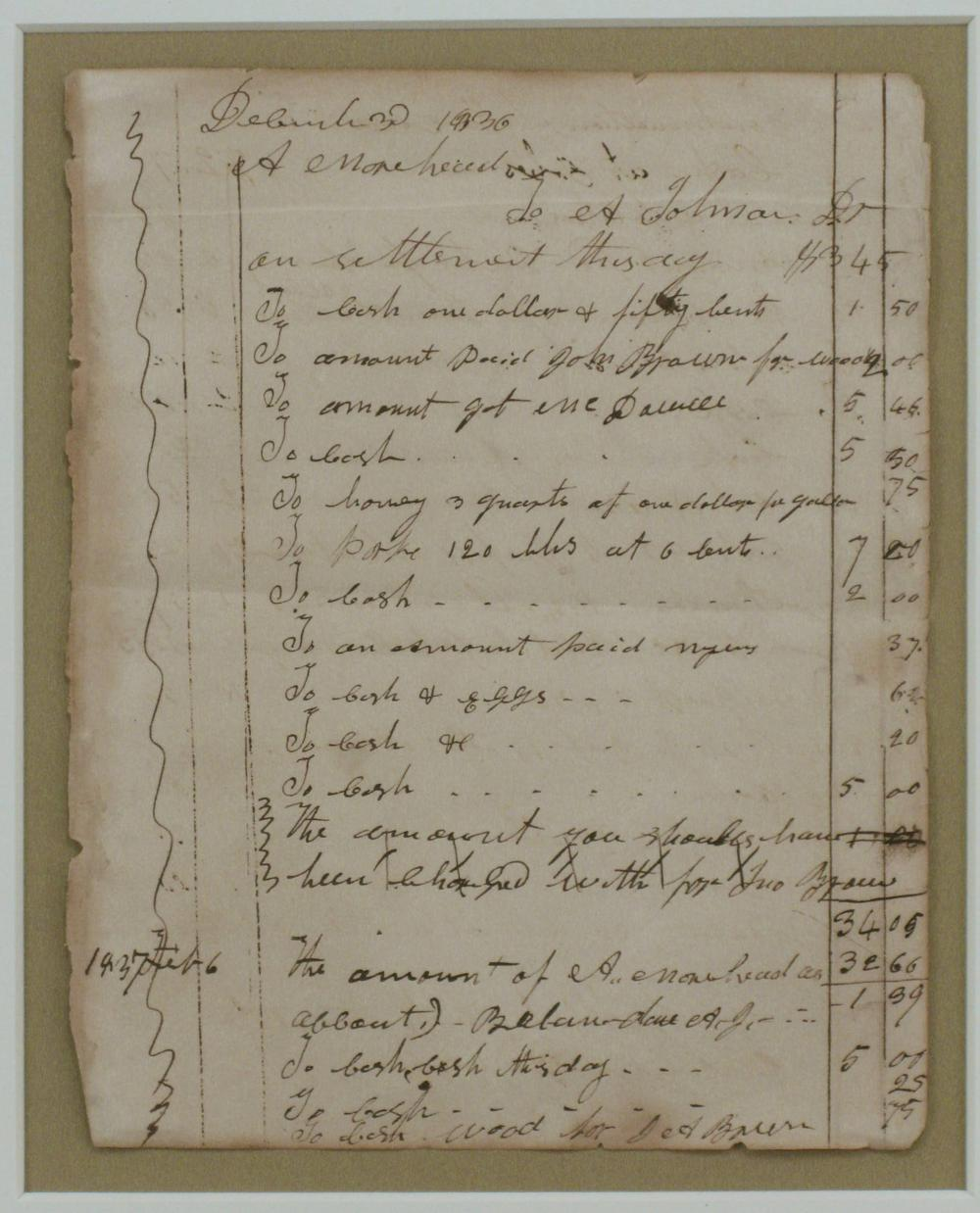A Sheet from the Ledger of 28-year-old Andrew Johnson's Tailor Shop, Signed Twice by the Future President! Among the Earliest Examples Extant!