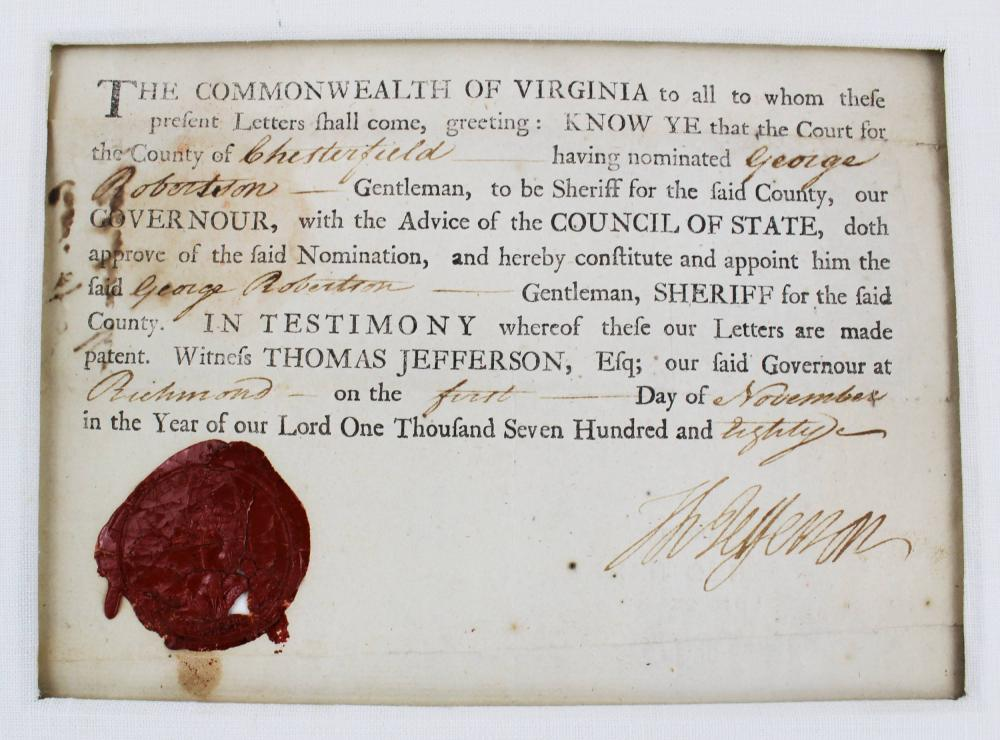 Thomas Jefferson Huge Bold Signature on Rev War Date Document