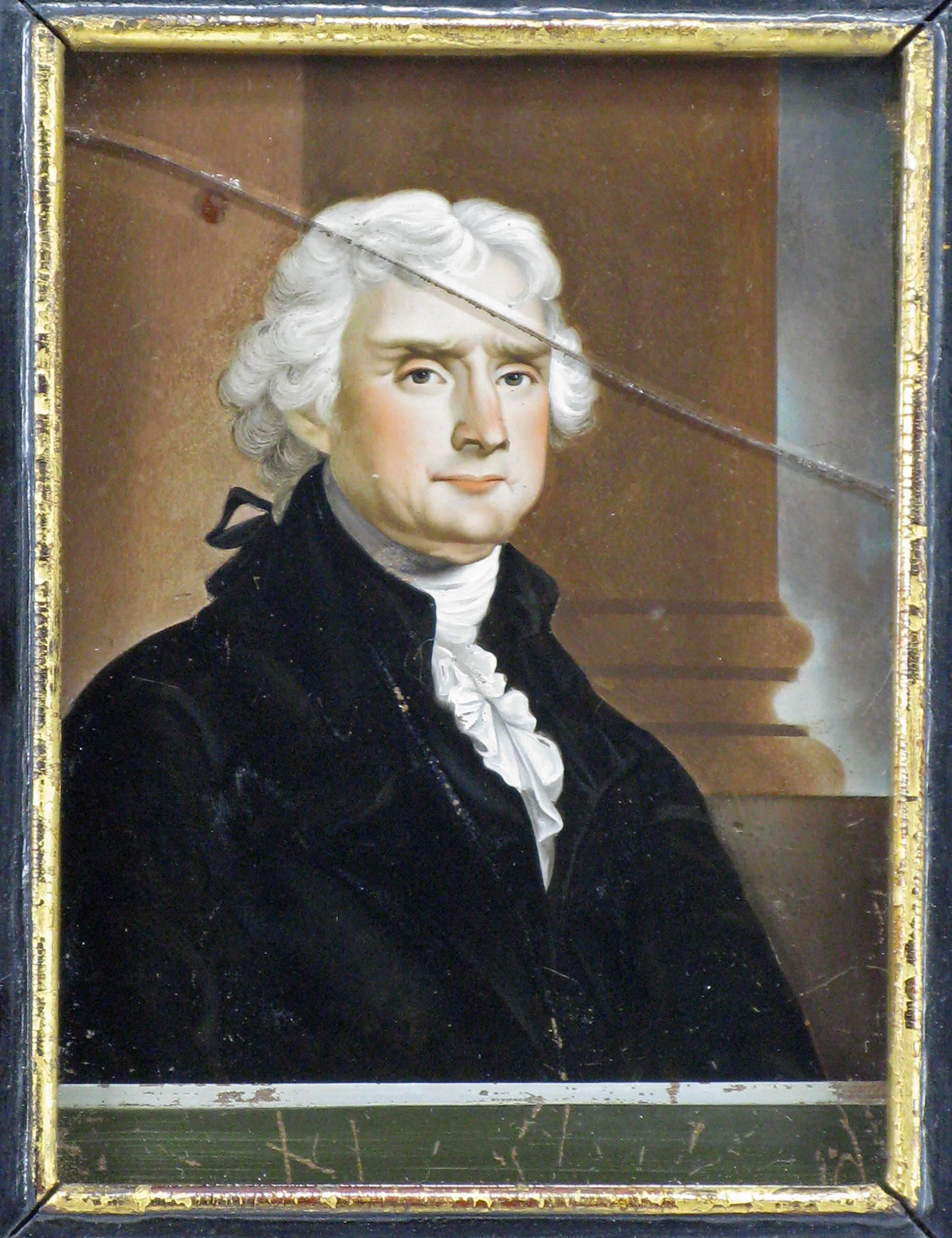 Thomas Jefferson, 18th or early 19th century reverse-painted portrait