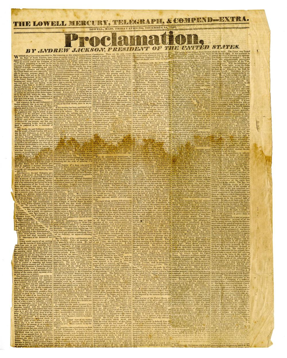 Proclamation by Andrew Jackson Shown in a Fantastic News Page Broadside, 1832