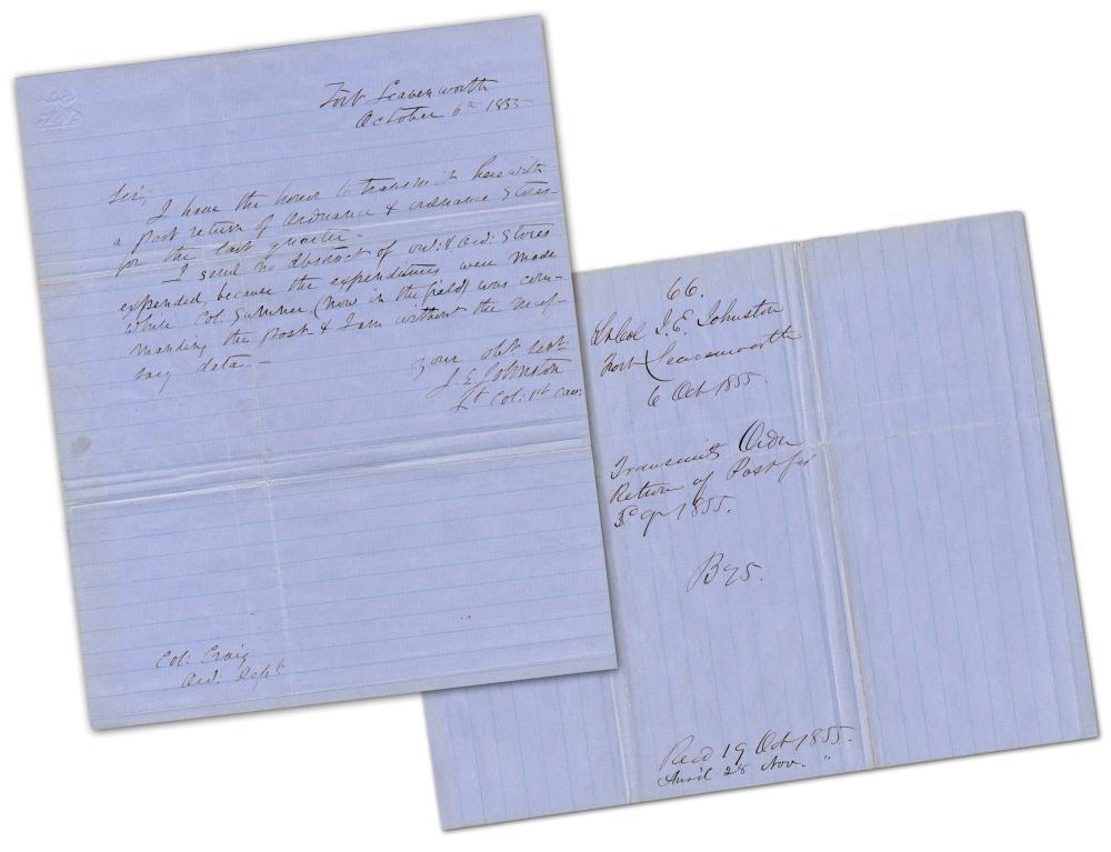 "Joseph Johnston ALS Re: ""Bleeding Kansas""-Era Ordinance Stores at Fort Leavenworth"
